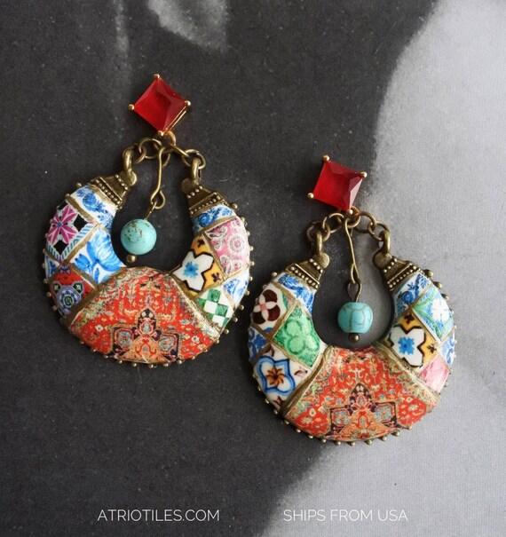 Earrings Chandelier Persian Tile Portugal Azulejo Antique Replica Bohemian Persian Boho Tribal Gypsy Gypsy Ethnic Cubic Zirconia Studs