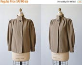 SALE Vintage 1980s Brown Wool Swing Jacket Car Coat / Fall and Winter Jacket / Fawn
