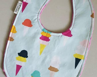Baby Bib - Ice Cream Cones on Fuchsia Minky