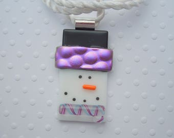 Snowman Jewerly - Christmas Ornament - Dichroic Fused Glass Pendant - Christmas Pendant- Snowman Necklace - Christmas Jewelry X1226
