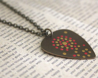 Guitar Pick Necklace, Music Jewelry, 3D, Dot Art, Vintaj Jewelry, Musician Jewelry, Guitar Pick Jewelry, 16 to 18 inches, Brass Jewelry