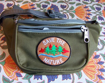 Vegan Fanny Pack, Green Fanny pack, Eco, Environmental, Hands free bag, Save the Planet