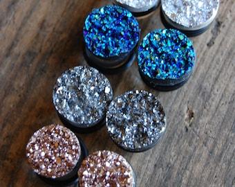 Choose Color| 9/16 inch (14mm) or 5/8 inch (16mm) Faux Druzy Rough Crystal Gauges for stretched earlobes. Druzy Gauges. Rose Gold, Silver