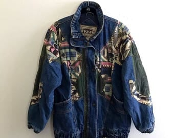 Vintage southwestern oversized denim jacket woth draw string and zip closure