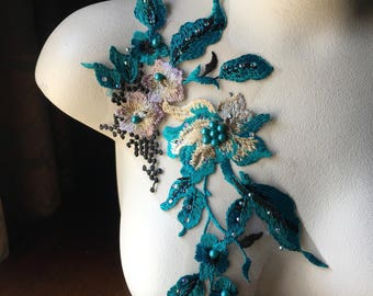 TEAL, Mauve & Black Lace Applique #2 Beaded for Couture Gowns, Lyrical or Ballet Costume Design F