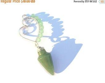 Summer Sale Green Aventurine Pendulum Pendant Necklace, Morganite, DivinationTool, Dowsing, Scrying, Meditation, Birthstone, Gift, Heart Pen