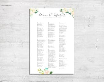 Custom Seating Chart - Vintage Floral Design - Digital File Only
