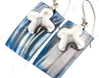 "7/8"" Rectangle Blue Mother Of Pearl Turbo Shell 925 Sterling Silver Earrings"