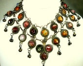 Tribal Agate Collar Filigree Metal Necklace, Boho Stone & Ball Dangles, 1970s India Hippie Era