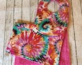 Tie Dye Baby Gifts Hippie Bright Tie Dye Baby Gift Handmade Rainbow Baby Bibs Baby Shower Gift Baby Hippie Clothes