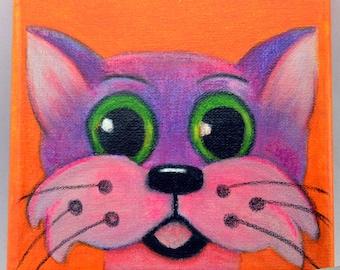 CAT, Folk Art Painting, Small Canvas, Rainbow Cat.