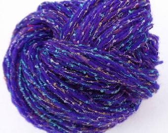 Handspun art yarn.  Shetland sheep wool. Hand spun sheep wool. Sari silk.   Tennessee wild side.