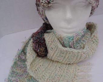 Crochet hat . Cadet cap.  Hat with a brim. Crochet scarf.  Hat and scarf. Travelling in style.