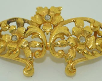 18K Art Nouveau Rose Cut Diamond Brooch