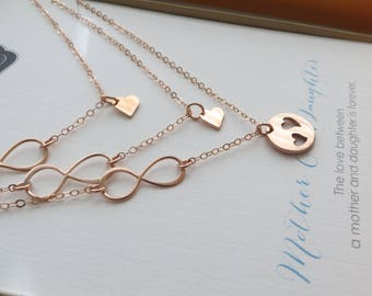 Mother 2 daugther infinity necklace, mother daughter jewelry, mother's day, gift, heart cutout charm,    two children, mom gifts, birthday