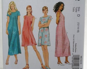 Misses' 1 Hour Dress McCall's M6102 Sewing Pattern A-line Dress, Sleeveless or Cap Sleeves,  2 Lengths, Easy to Sew Size  12 - 16 UNCUT
