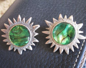 Vintage Green Abalone Shell Silver Sun Rays Clip On Earrings Southwestern Jewelry