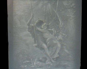 Antique French Lithophane, Lithopane, Spring by Pierre Auguste Cot
