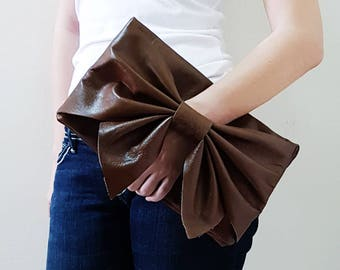 Cow Leather Fold Over Bow Clutch, Evening Bag, Leather Clutch, Dinner Bag, Wristlet, Gift For Bridesmaids, Gift Ideas For Women
