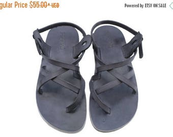 15% OFF New - Gray Triple Leather Sandals For Men & Women - Handmade Sandals, Leather Flats, Leather Flip Flops, Unisex Sandals, Brown Sanda