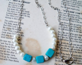 Turquoise and Pearl Beaded Necklace - Square and round beads - Half Moon shape - Silvertone chain - bycat
