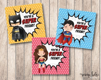 Instant Download Valentine Tag, You Are A Super Friend Tag, Printable Valentine Tags, Super Hero Valentine Labels, Kids Valentine Tags