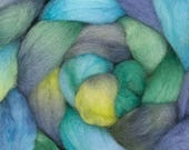 Corriedale, Hand dyed roving,  felting fibre, spinning fiber, Corriedale combed top, roving, fiber, wool, fibre art, Coastal path