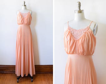 70s peach maxi dress, vintage 1970s disco dress, floral lace accordion pleated dress, extra small xs