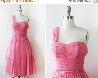 20% OFF SALE 50s pink dress, 1950s chiffon party dress, vintage pink prom bridesmaid dress,  extra small xs