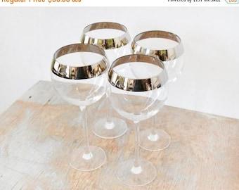 20% OFF SALE silver rim wine glasses, vintage 60s long stem wine glasses, dorothy thorpe style cocktail glasses