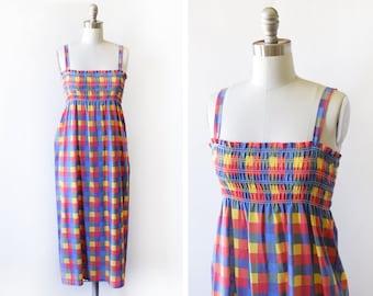 70s plaid sundress, vintage 1970s smocked dress, rainbow plaid dress, medium m
