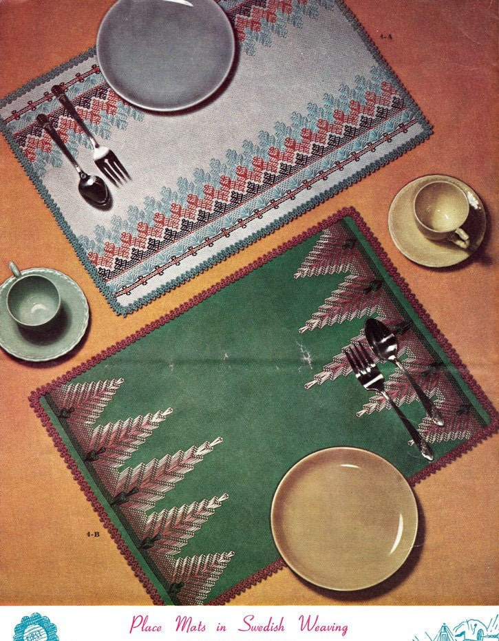 Place mats patterns in swedish weaving