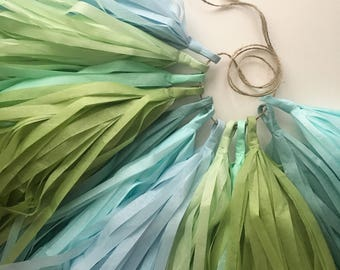 SAGE and SKY tissue paper tassel garland cool pastel blue green boy first birthday party decoration wedding ceremony aisle marker arbor arch