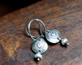 Sterling Silver Pearl Earrings, Sterling Silver Heart Earrings, Hand Stamped Dangly Earrings, Boho Earrings