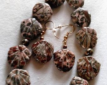 SALE jasper Leopardskin Necklace Earring Set, Hand Crafted Carved Beads