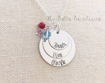Personalized Mother's Necklace Three Discs and Birthstones Hand Stamped