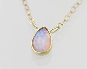 """Opal Teardrop Necklace in 14ky Gold (16"""")"""