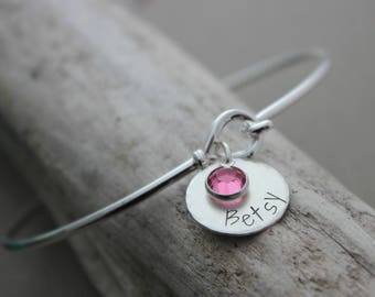 Sterling silver name bangle bracelet - hook and loop closure - Multiple name discs personalized Swarovski crystal birthstones - Gift for her