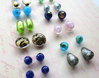 Venetian glass mixed bag pairs of beads assorted shapes and sizes