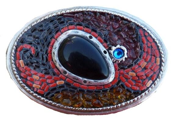 Unisex Onyx Gemstone Oval Mosaic Belt Buckle