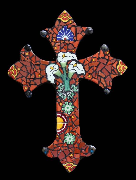 Mosaic Wall Cross Made with Talavera Tiles