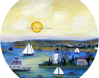 Sailors Valentine Center, ART for Designers Crafters ~ Sunset Sailing ~ JL. Munro