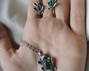 frog necklace pendant sterling silver handmade jelly belly