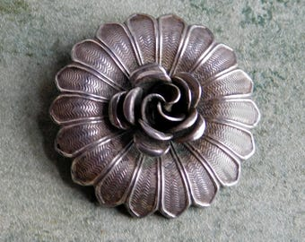 Vintage 1940s Silver Plate Floral Brooch - Rose Pin w/ Surrounding Machine-Etched Daisy-Petals - 3-D Mid-Century Flower Brooch - Ornate