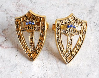 Vintage Royal Crusaders Intl. Club Cufflinks - 1970s Goldtone Metal Shield, Blue Rhinestones - Extra Large Memorabilia / Souvenir Cuff Links
