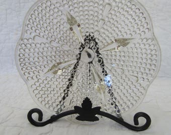 Vintage Hobnail Bubble Candy Dish Footed Clear Glass