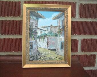 Vintage Sweet Little Framed European Street Scene Original Oil Painting