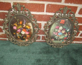 Vintage PAIR of Oval Floral Prints in Ornate Italian Brass Bubble Glass Hanging Picture Frames