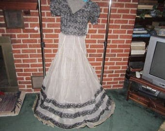 Vintage 1940s/50s White Sheer Nylon with Black Lace Floor Length Evening Dress