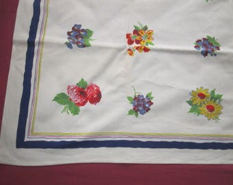 Vintage 1950s Colorful 51x52 Cotton Wilendur Colorful Floral Kitchen Tablecloth